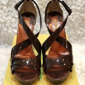 Platform Patent Sandals